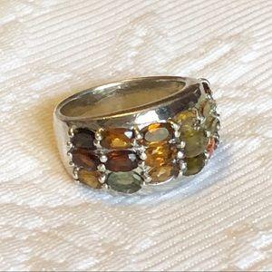Stunning Brazilian stones sterling silver ring
